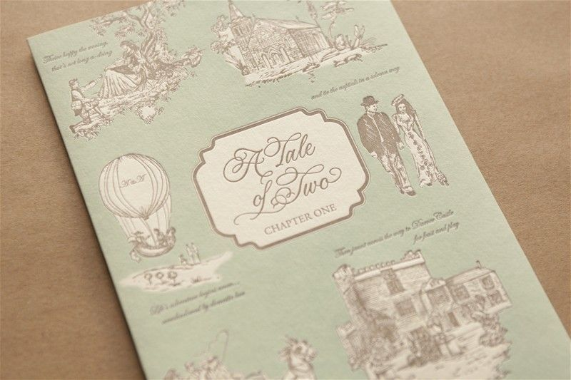 Bespoke Artwork Invites, letterpress venue, Toile De Jouy