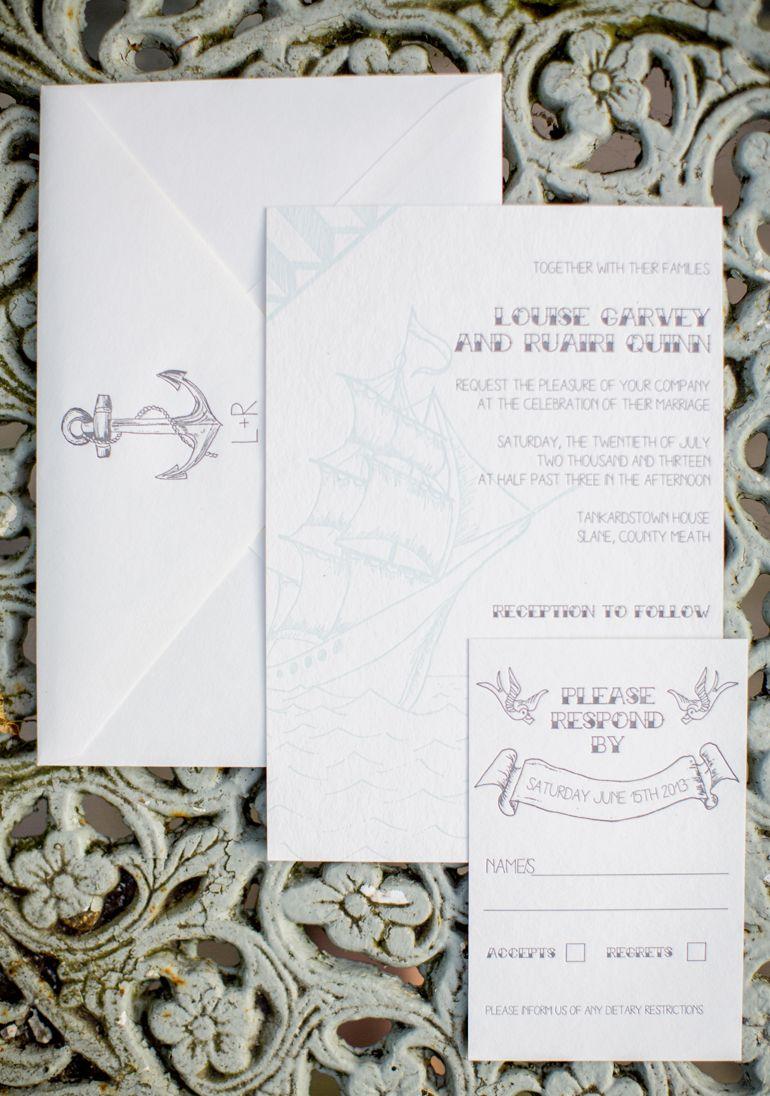 Nautical Theme Wedding Invitation Suite