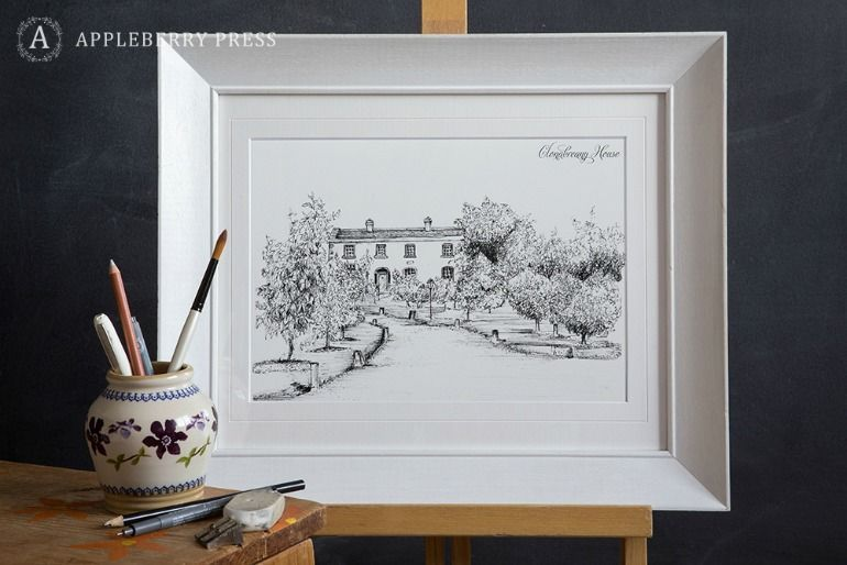 Pen Illustration Wedding Invitation Clonbreany House