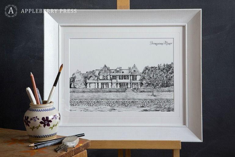 Pen Illustration Wedding Invitation Drommquinna Manor