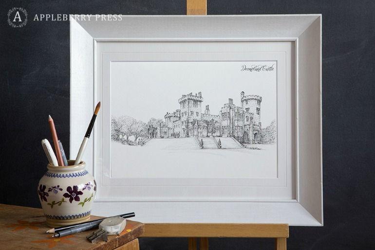 Pen Illustration Wedding Invitation Dromoland Castle