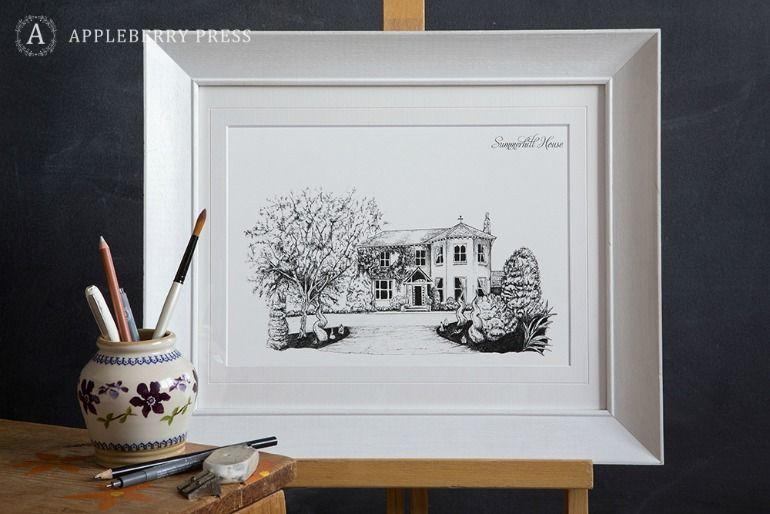 Pen Illustration Wedding Invitation Summerhill House