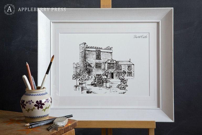 Pen Illustration Wedding Invite Darver Castle