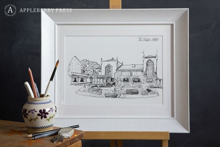 Pen Sketch Wedding Illustration Dunloe Hotel