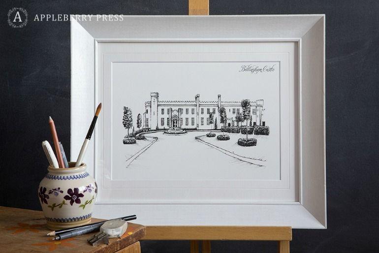 Pen Sketch Wedding Invitation Bellingham Castle(1)