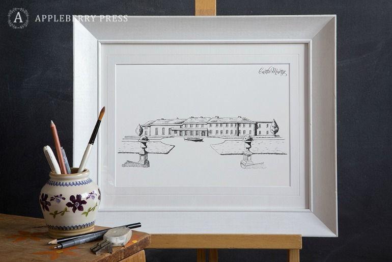 Pen Sketch Wedding Invitation Castle Martyr