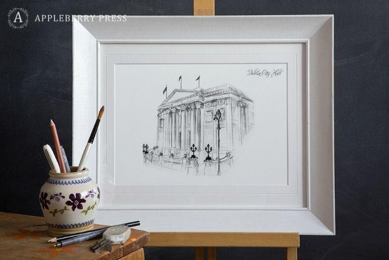 Pen Sketch Wedding Invitation Dublin City Hall
