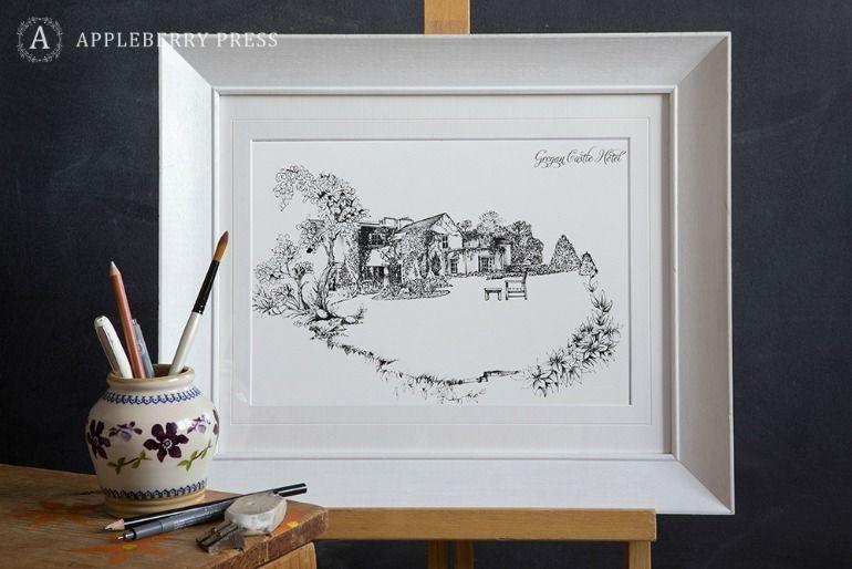Pen Sketch Wedding Invitation Gregan Castle
