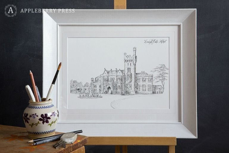 Pen Sketch Wedding Invitation Lough Eske Hotel
