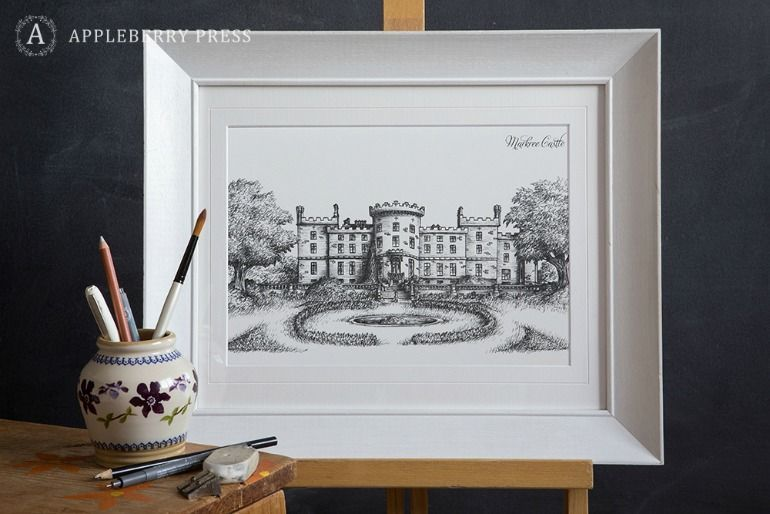 Pen Sketch Wedding Invitation Markree Castle
