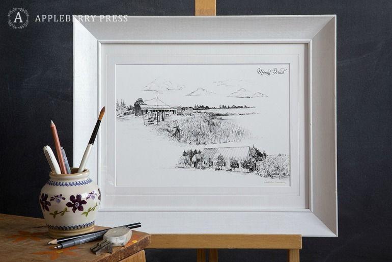 Pen Sketch Wedding Invitation Mount Druid