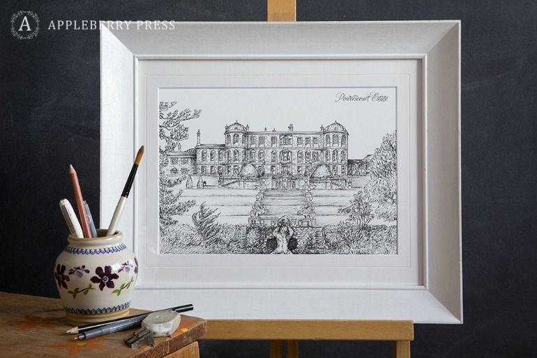 Pen Sketch Wedding Invitation Powerscourt Estate
