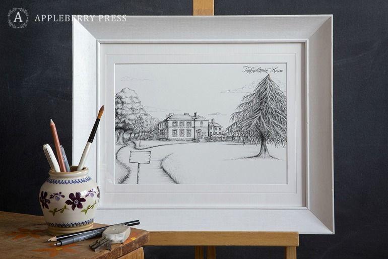 Pen Sketch Wedding Invitation Tankardstown House