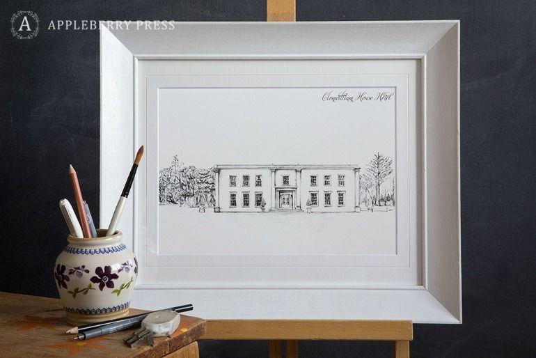 Pen Sketch Wedding Invite Clonwilliam House