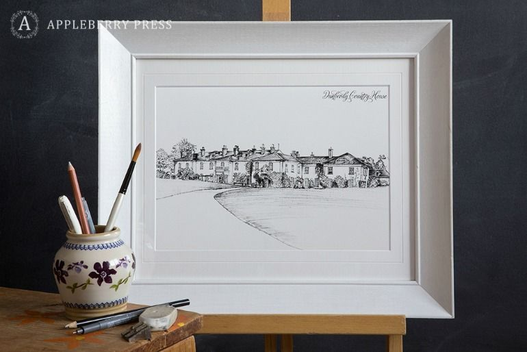 Pen Sketch Wedding Invite Dunbrody Country House