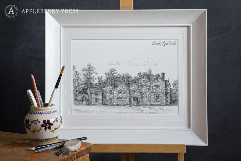 Pen Sketch Wedding Invitation Loughrynn Castle
