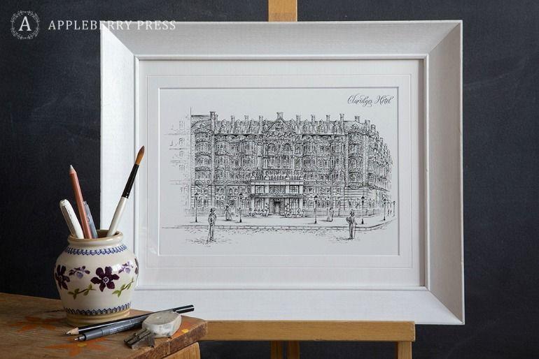 Pen Sketch Wedding Invitation Claridges Hotel