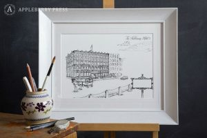 Pen Sketch Wedding Invitation The Shelbourne Hotel2