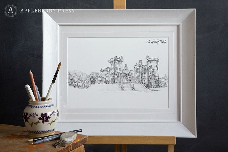 Pen Illustration Wedding Invitation Dromoland Castle(2)