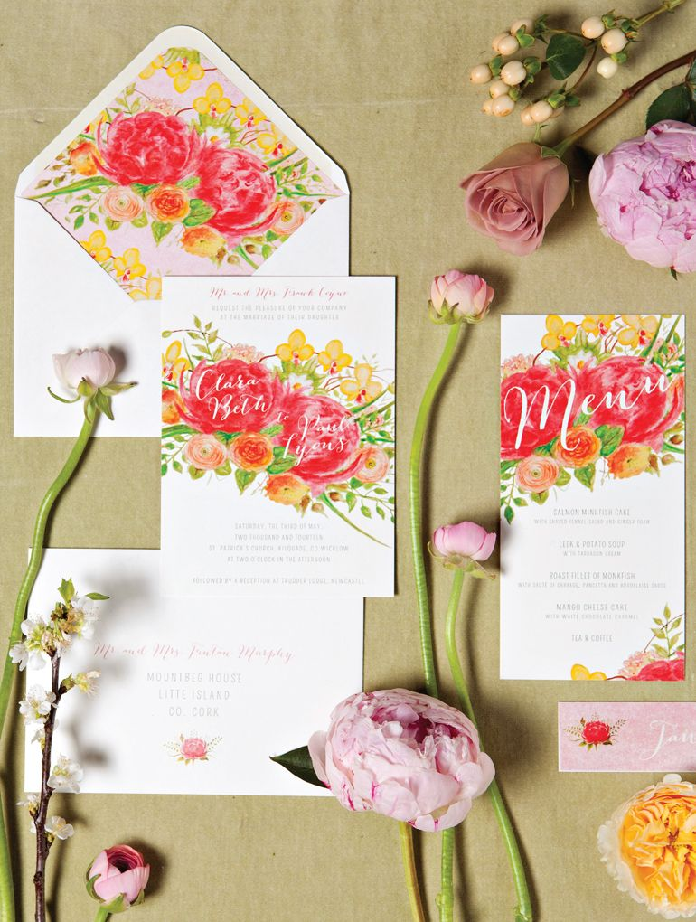 Watercolour Floral Wedding Invitation Suite