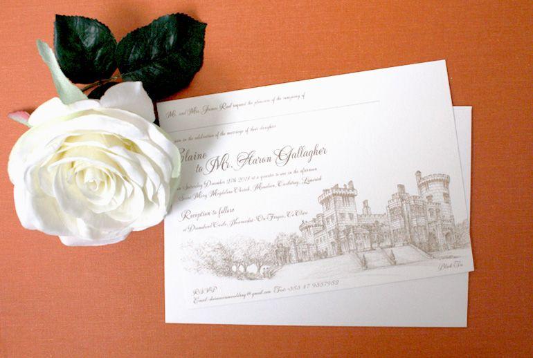 Dromoland Castle Wedding Invitation, Venue Illustration