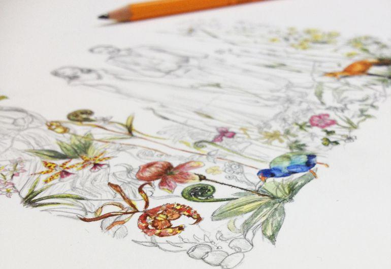 Illustrated Watercolour Wedding Invitation