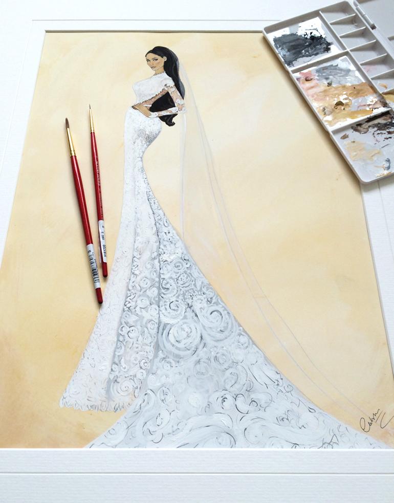 Kim Kardashian Givenchy Wedding Dress Painting(1)