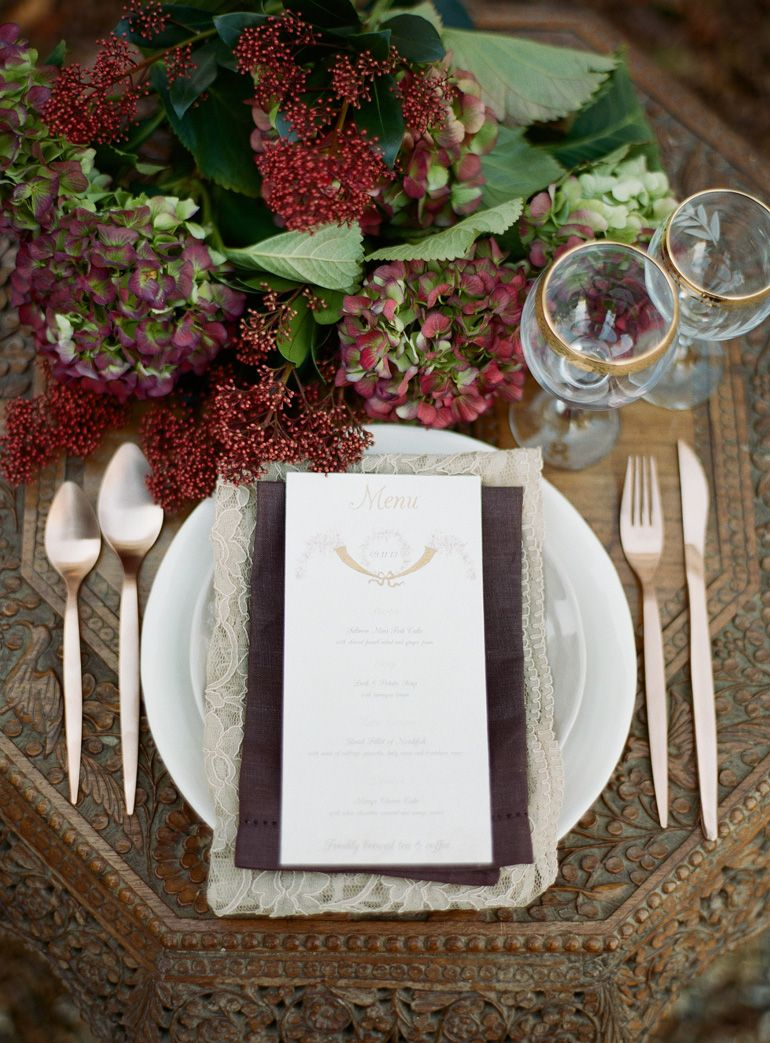 Table Setting Floral Menu