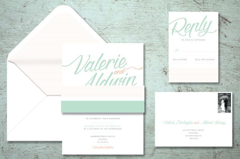 Typographic Wedding Invitations Colourful Stylish Font