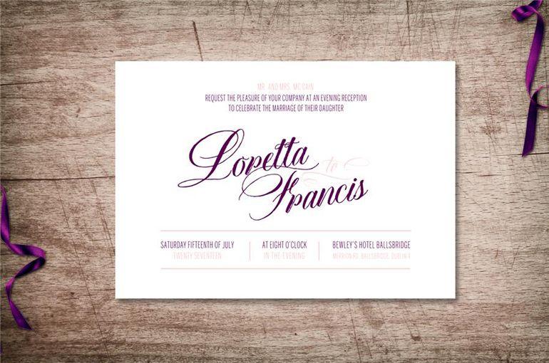 Typographic Wedding Invitations Script Font