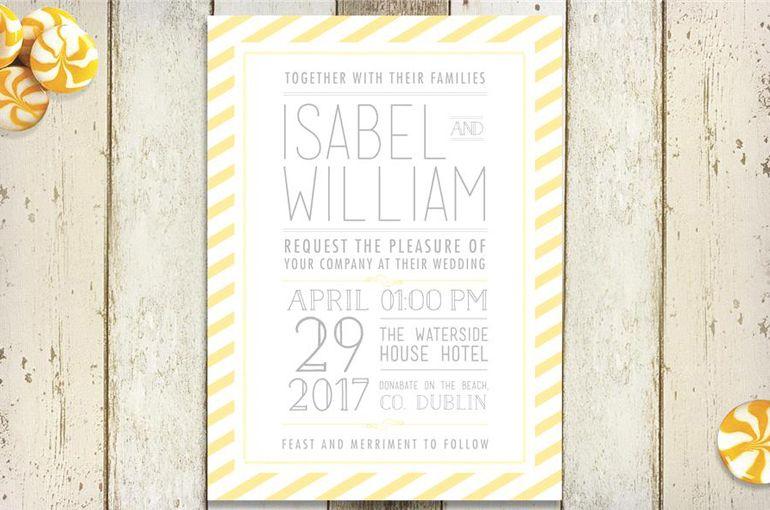 Typographic Wedding Invitations Striped