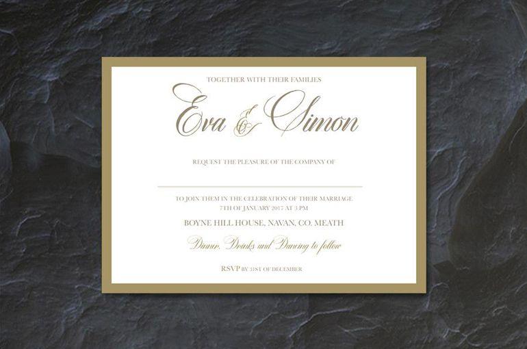 Border Love Wedding Invitation Typographic