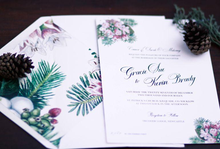 Winter Wedding Invitation Ideas, Christmas Wedding Stationery