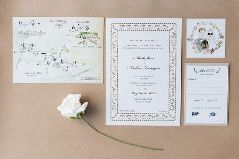 Black Tie Wedding Invitations, Gold Foil