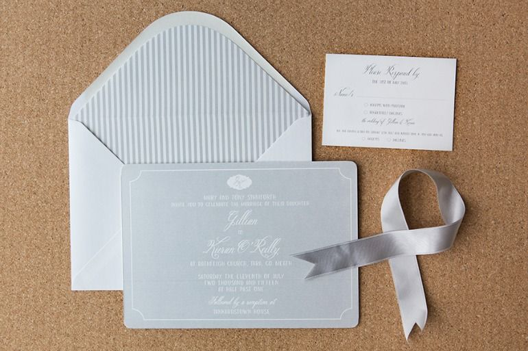 Classic Grey Invitations With Stripes