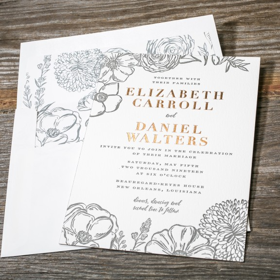 Letterpress Invitations With Gold Foil