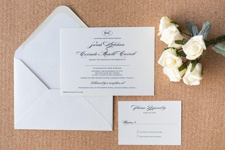 Navy And Ivory Wedding Invitations