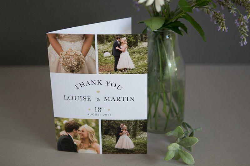 Photo Wedding Collage Thank You Card