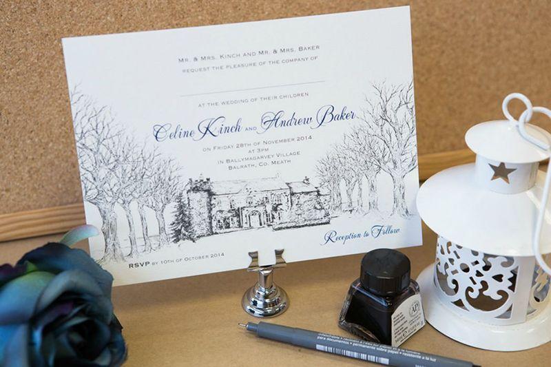 Ballymagarvey Pen Sketch Invitation