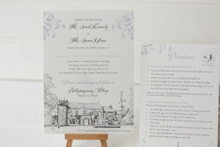 Ballymagarvey Venue Illustration With Purple Cherry Blossom Design