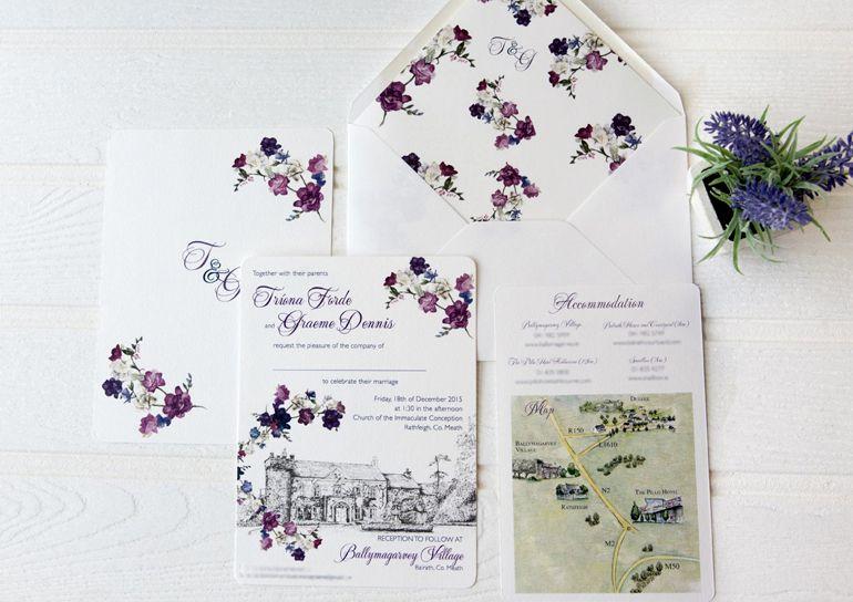 Ballymagarvey Village Invitation With Purple Flowers