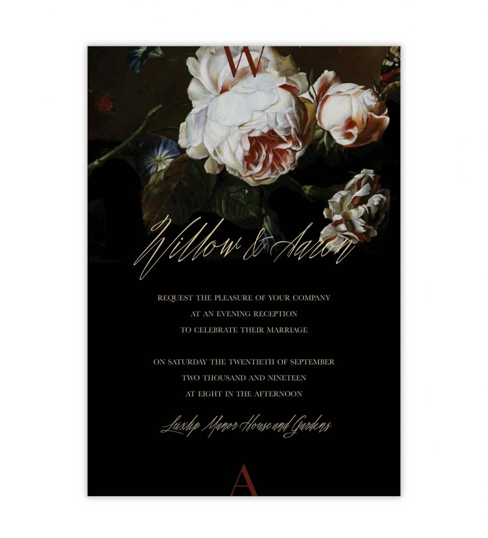 Dark Blooms Evening Invitation