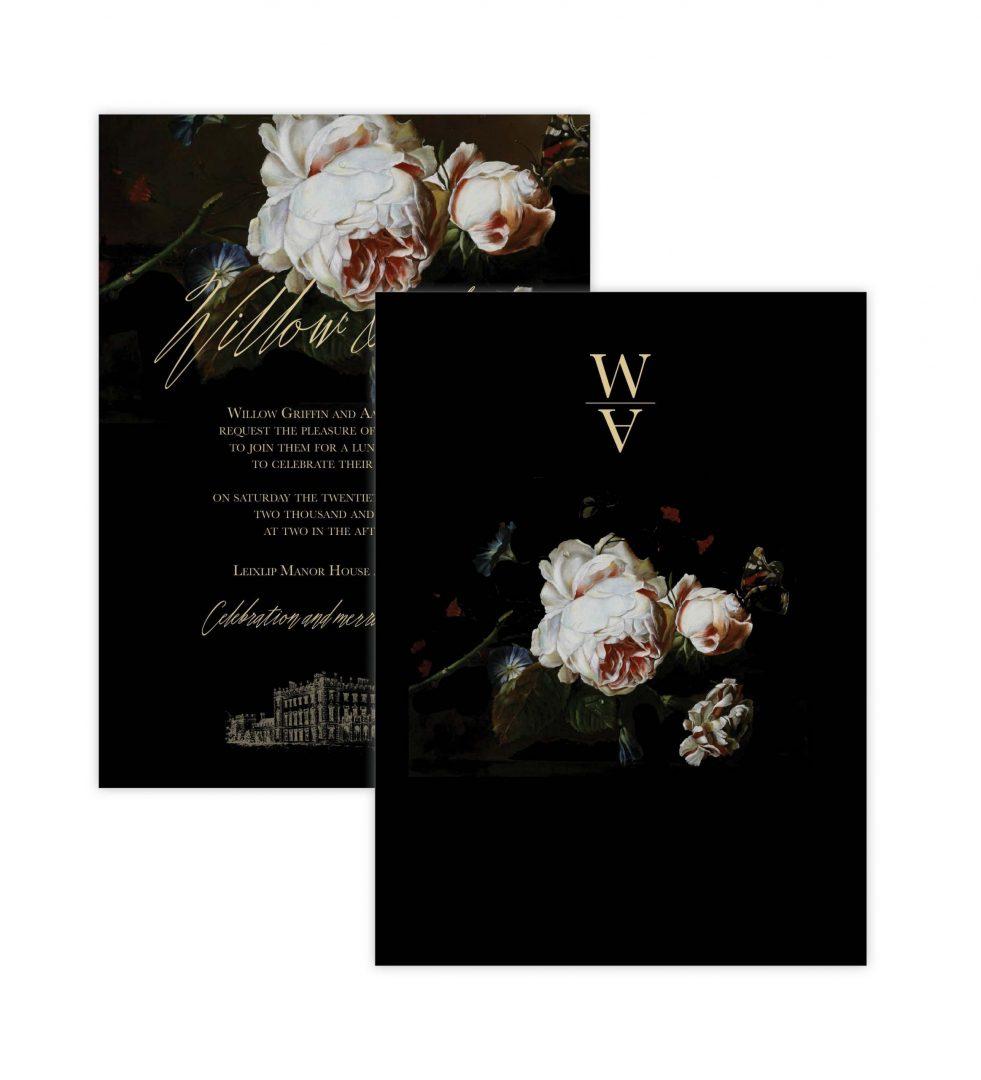 Dark Blooms Invitation Backer