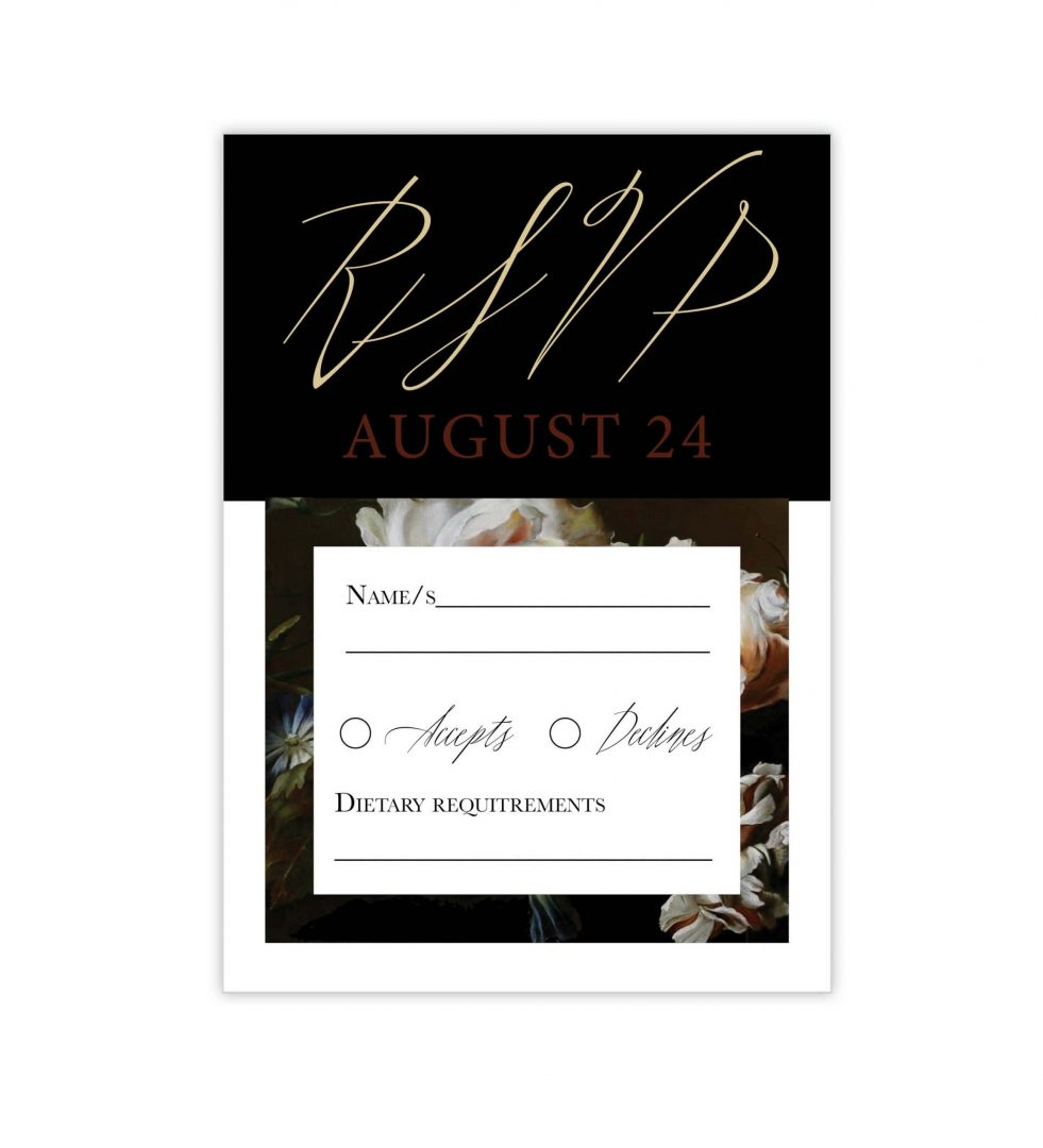 Dark Blooms Rsvp Card