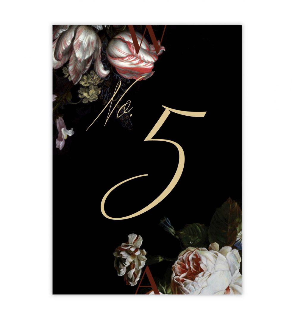 Dark Blooms Table Numbers