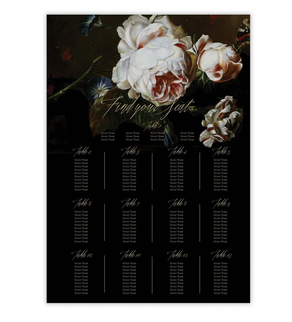 Dark Blooms Table Plan