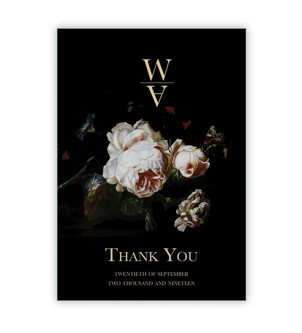 Dark Blooms Thank You Card