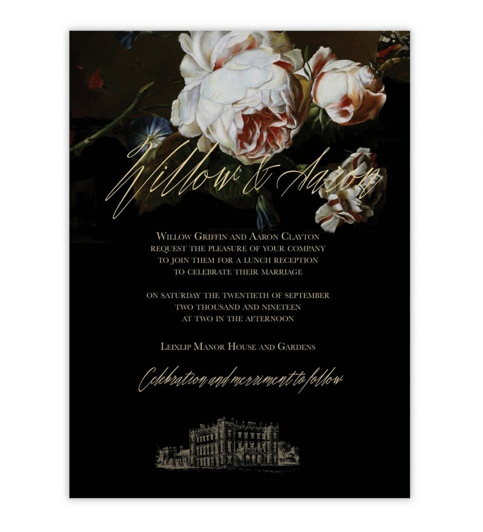 Dark Blooms Wedding Invitation