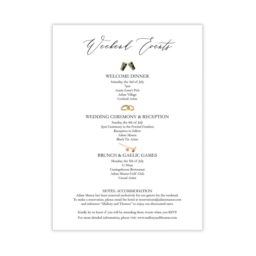 Manor Wedding Details Card