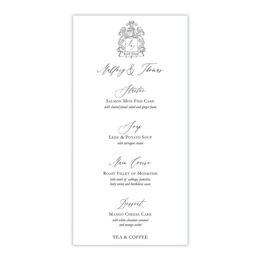 Manor Wedding Menu